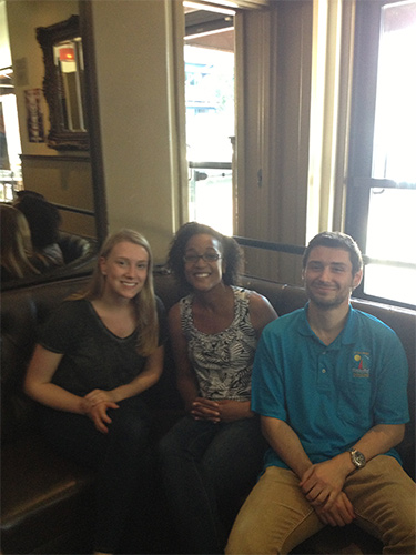 Summer research students Paige and Paul enjoying Renee's company at the bowling alley